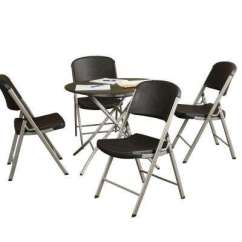 Folding Chair Round Kitchen Covers Argos Black Tables Chairs Furniture The Home Depot 5 Piece Table And Set
