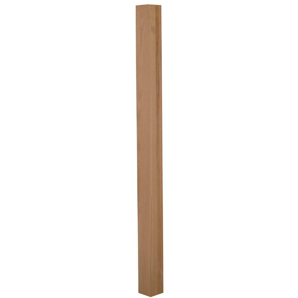Stair Parts 4001 3 1 2 In X 66 In Unfinished Red Oak | Home Depot Newel Posts