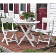 Adams Manufacturing Quik-fold White 3-piece Patio Cafe Set