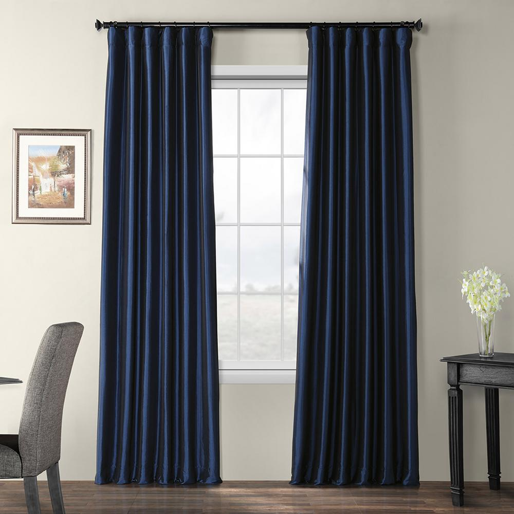 exclusive fabrics furnishings navy blue blackout faux silk taffeta rod pocket curtain 50 in w x 108 in l ph bo194010 108 the home depot