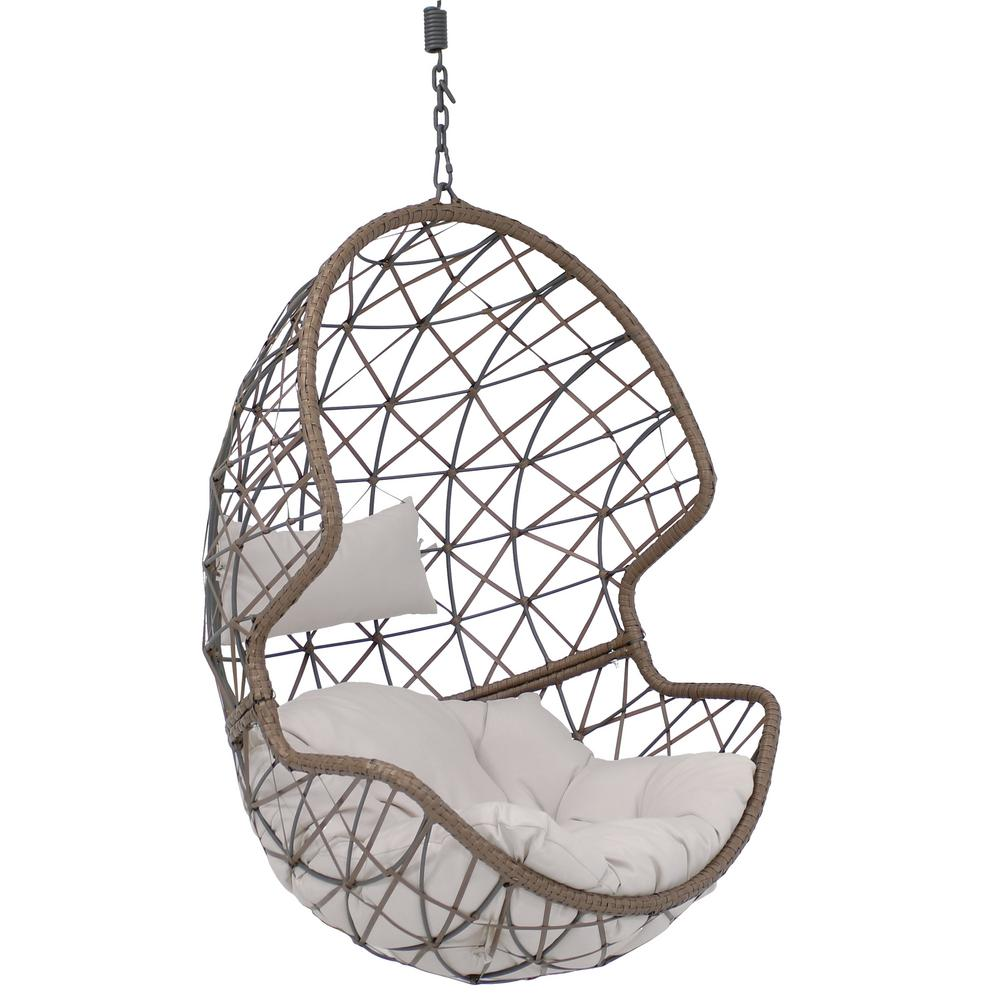 Hanging Egg Chair Outdoor Sunnydaze Decor Danielle Resin Wicker Indoor Outdoor Hanging Egg Patio Lounge Chair With Gray Cushions