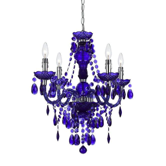 Af Lighting Naples 4 Light Chrome Mini Chandelier With Purple Plastic Bead Accents