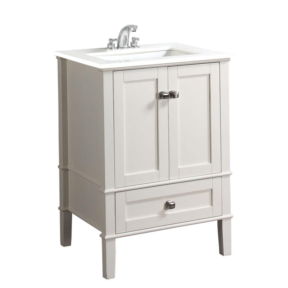 Simpli Home Chelsea 30 In Bath Vanity In Soft White With Engineered Quartz Marble Vanity Top In White With White Basin Nl Hhv029 30 2a The Home Depot