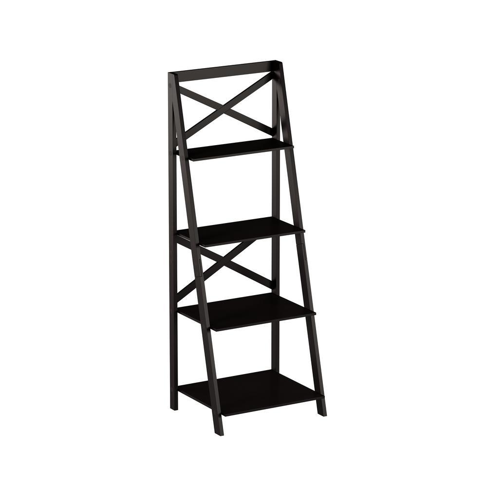 Lavish Home 38 in. Black Wood 4-shelf Ladder Bookcase with