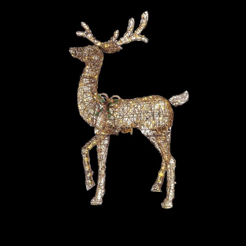 Led lighted reindeer christmas decoration for Animated lighted reindeer christmas decoration