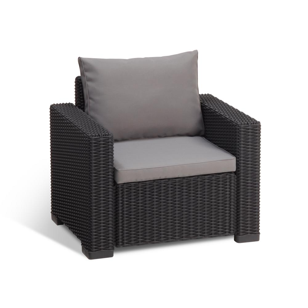 Plastic Lounge Chair Keter California Graphite Plastic Wicker Outdoor Lounge Chair With Cool Grey Cushions