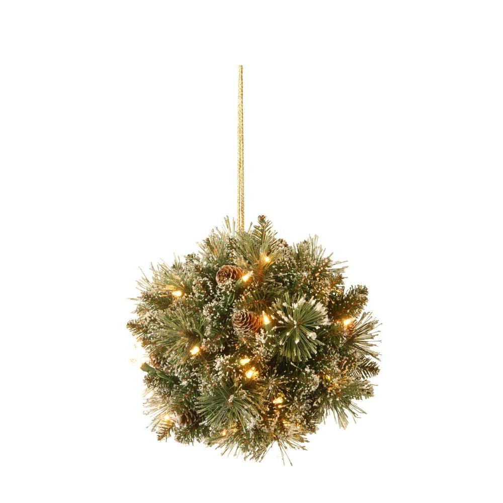National Tree Company 12 In Glittery Bristle Pine Kissing