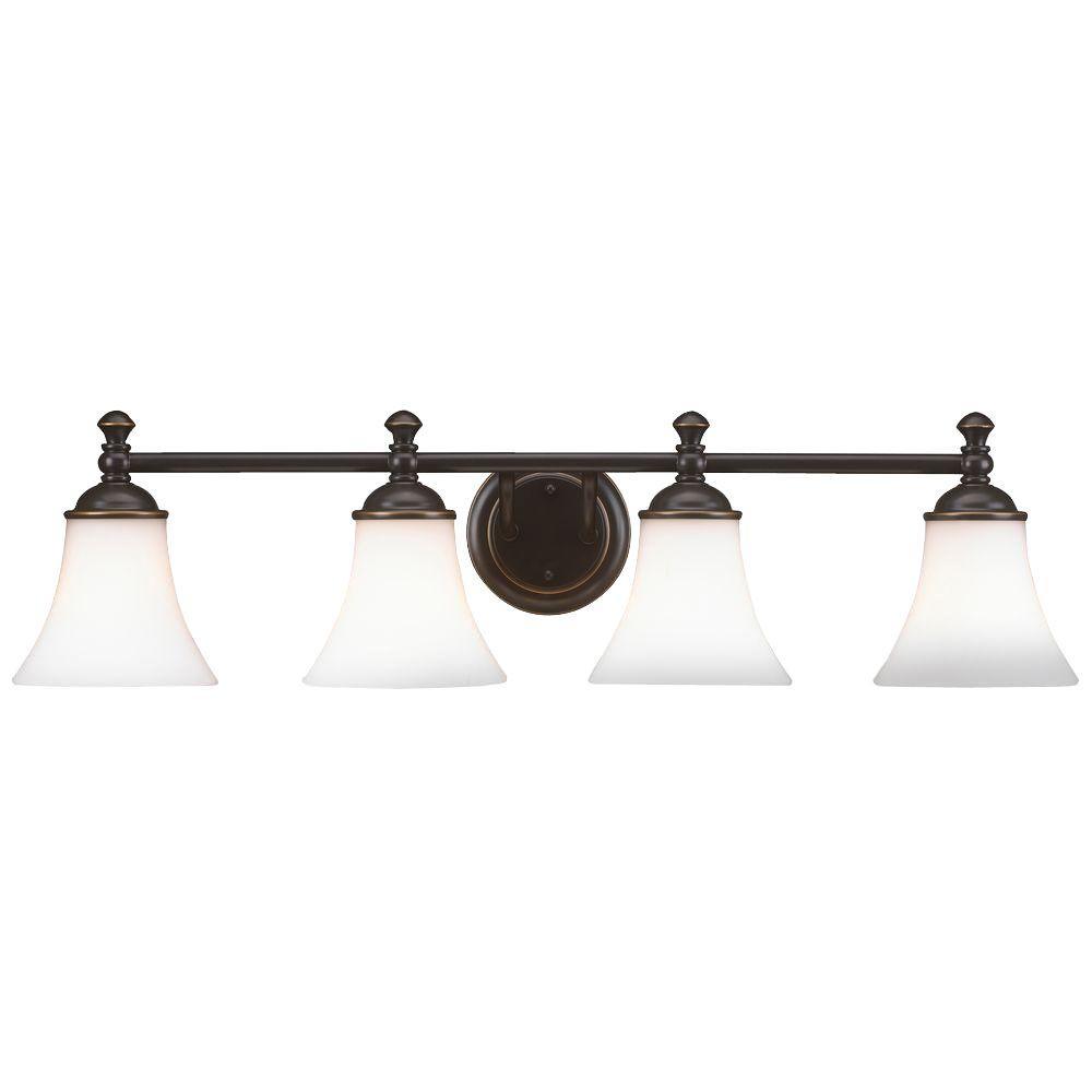 medium resolution of hampton bay crawley 4 light oil rubbed bronze vanity light with white glass shades
