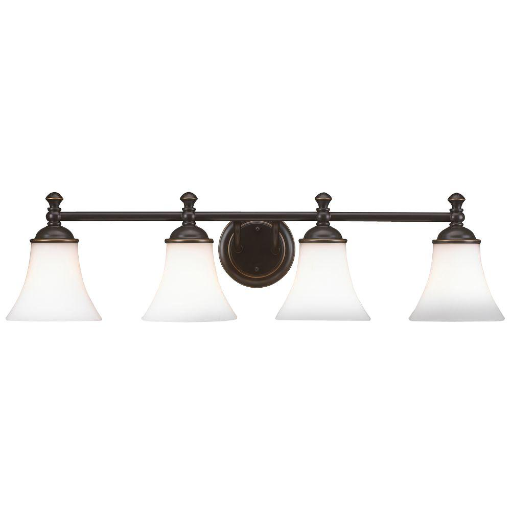 hight resolution of hampton bay crawley 4 light oil rubbed bronze vanity light with white glass shades