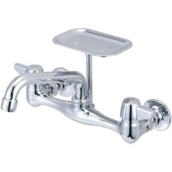Heavy Duty Kitchen Faucet Base Cabinet Central Brass 2 Handle On 8 In Centers Pvd Polished Chrome