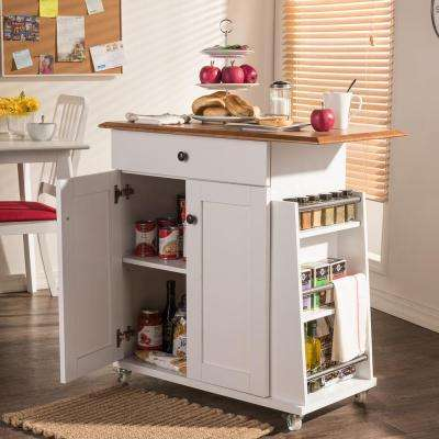 kitchen table storage composite sink baxton studio carts islands utility tables balmore white cart with