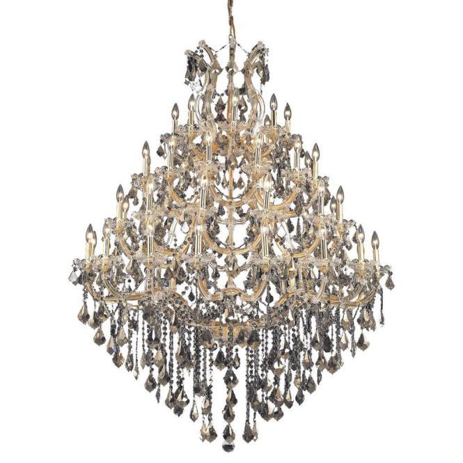Elegant Lighting 49 Light Gold Chandelier With Golden Teak Smoky Crystal