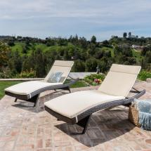Multi-brown 4-piece Wicker Outdoor Chaise Lounge