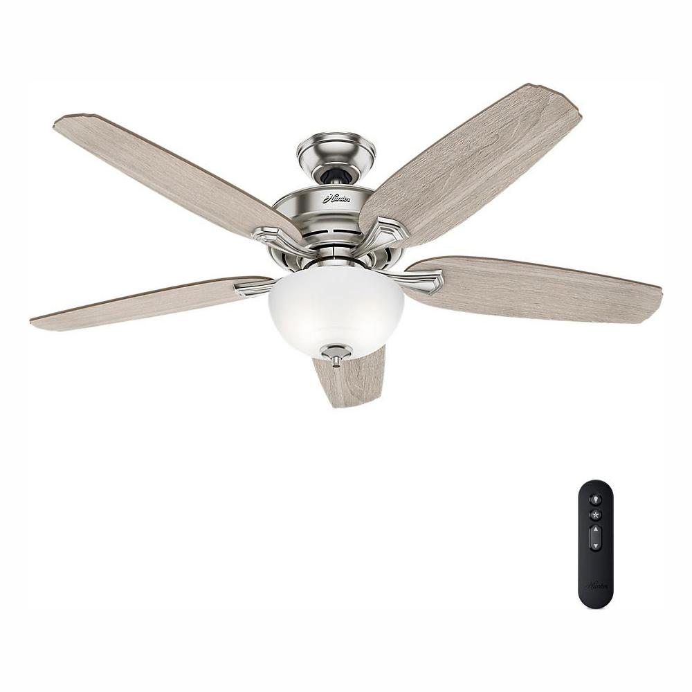 medium resolution of led indoor easy install brushed nickel ceiling fan with hunterexpress feature
