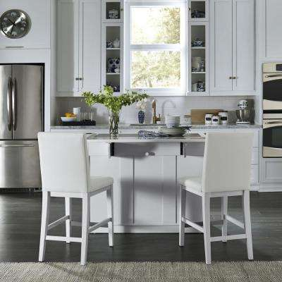 island kitchen cabinetry islands carts utility tables the home depot linear white and 2 bar stools