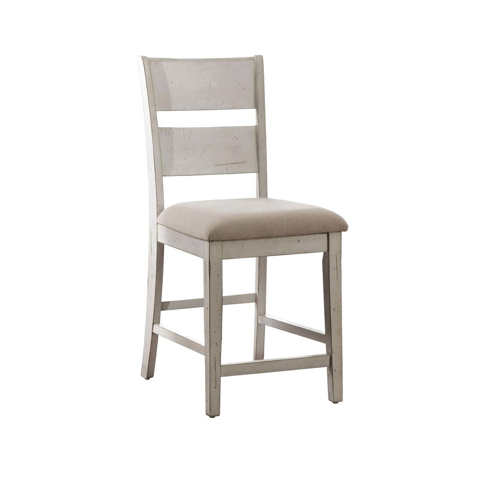 counter height chairs with back throne for rent furniture of america kaylen antique white fabric ladder chair set 2