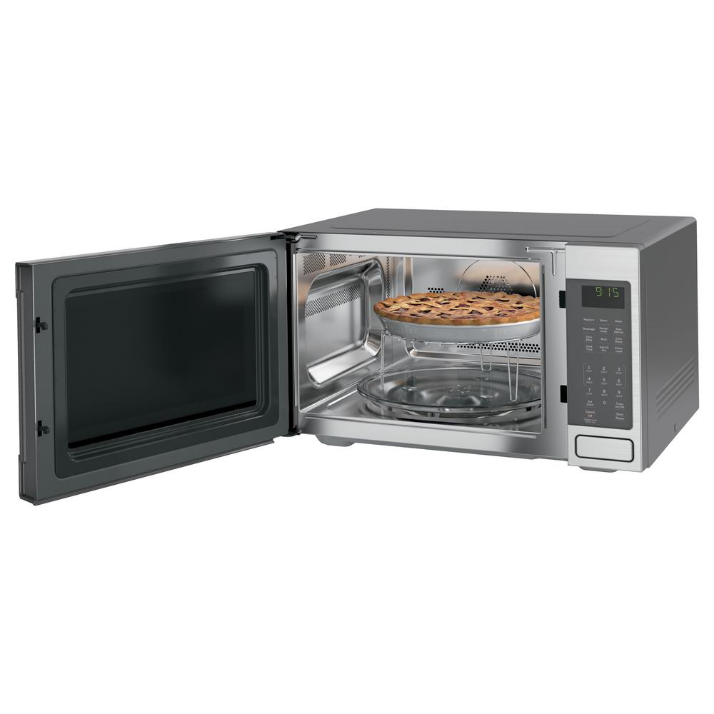 Ge Profile 1 5 Cu Ft Countertop Convection Microwave Oven In Slate Fingerprint Resistant Peb9159ejes The Home Depot