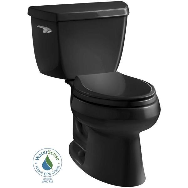 Kohler Wellworth Classic 2-piece 1.28 Gpf Single Flush Elongated Toilet In Black-3575-7