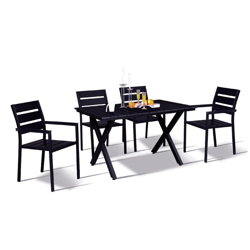 Black Dining Room Table And Chairs Modern Contemporary 5 Piece Black Metal Rectangular Outdoor Dining Set With Faux Wood And Stackable Chairs