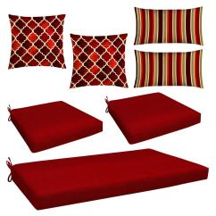 Red Lounge Chair Stand Score Honeycomb 7 Piece Outdoor Mix And Match Wicker Cushion Set