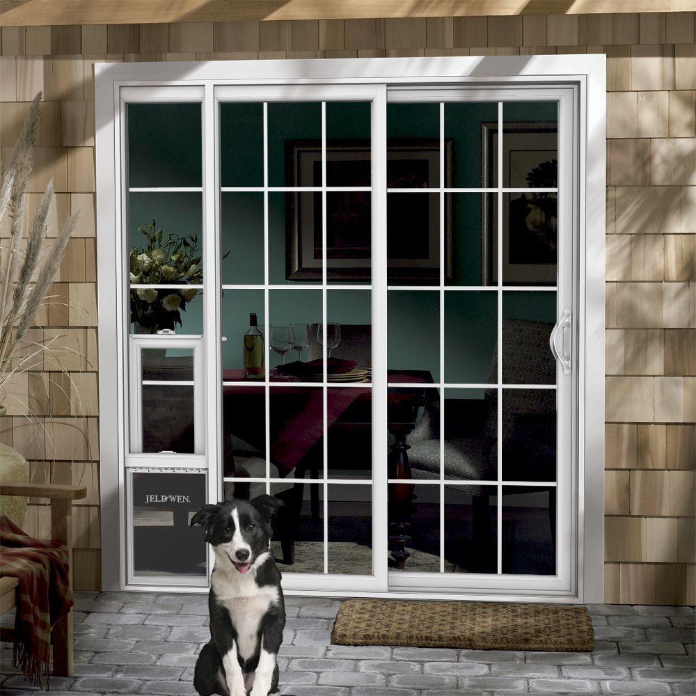 sliding glass patio door with dog door