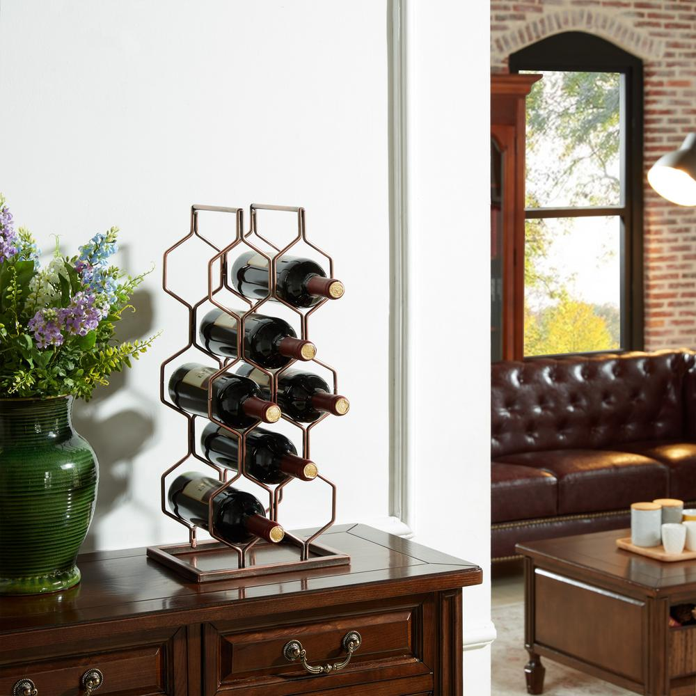 can you put a wine rack in living room 5th wheel campers with front danya b copper electroplated 8 bottle hg11631 the home depot