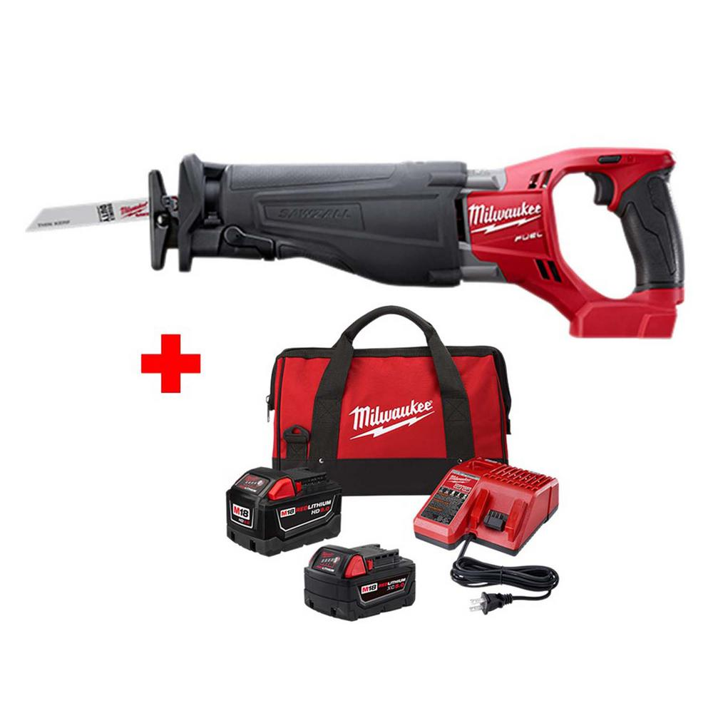 medium resolution of milwaukee m18 fuel 18 volt lithium ion brushless cordless sawzall reciprocating saw with one