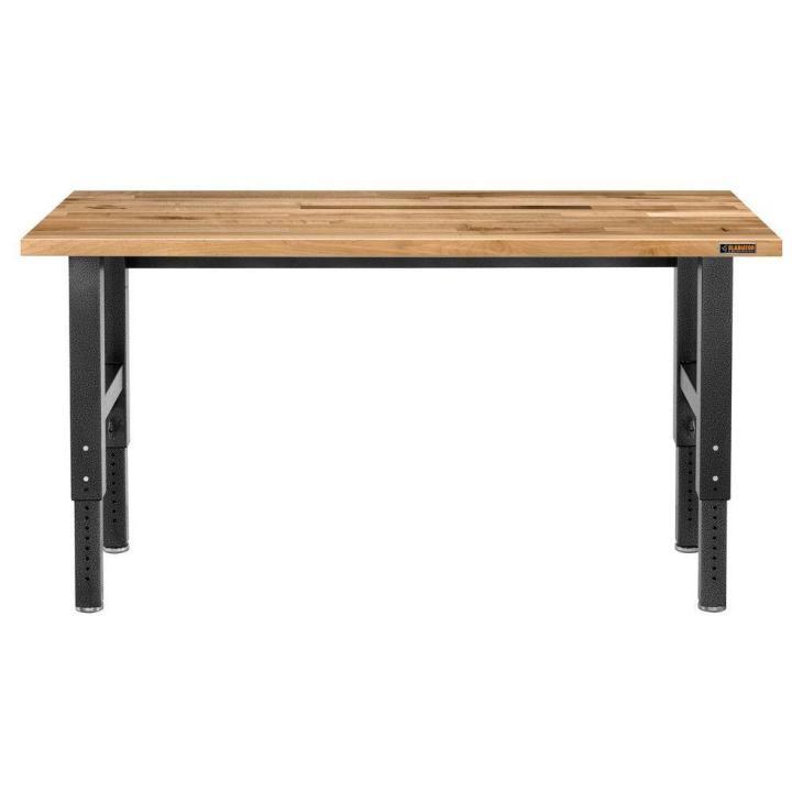 Hardwood Top Adjustable Height Workbench in Hammered Granite