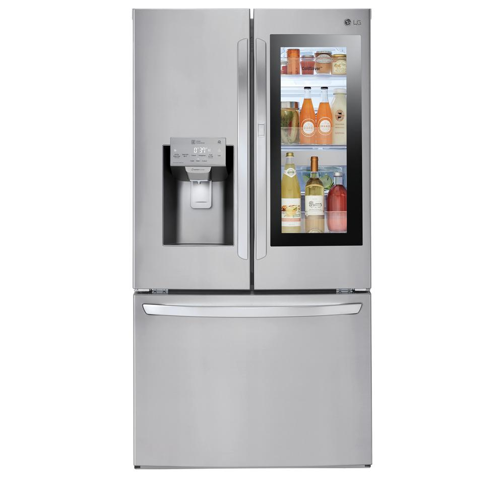 medium resolution of lg electronics 28 cu ft 3 door french door smart refrigerator with instaview door
