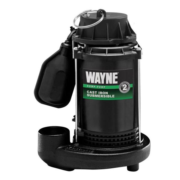 Wayne 1 3 Hp Cast Iron Submersible Sump Pump With Tether