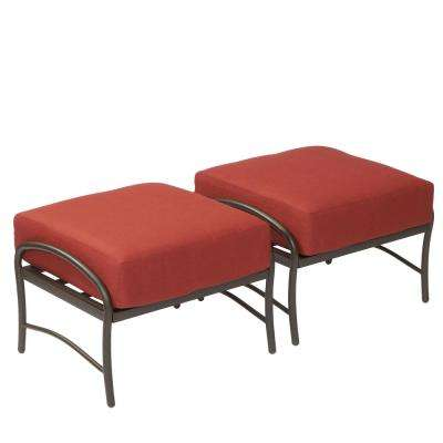 outdoor chair and ottoman cheetah print folding ottomans lounge furniture the home depot oak cliff metal with chili cushion 2 pack
