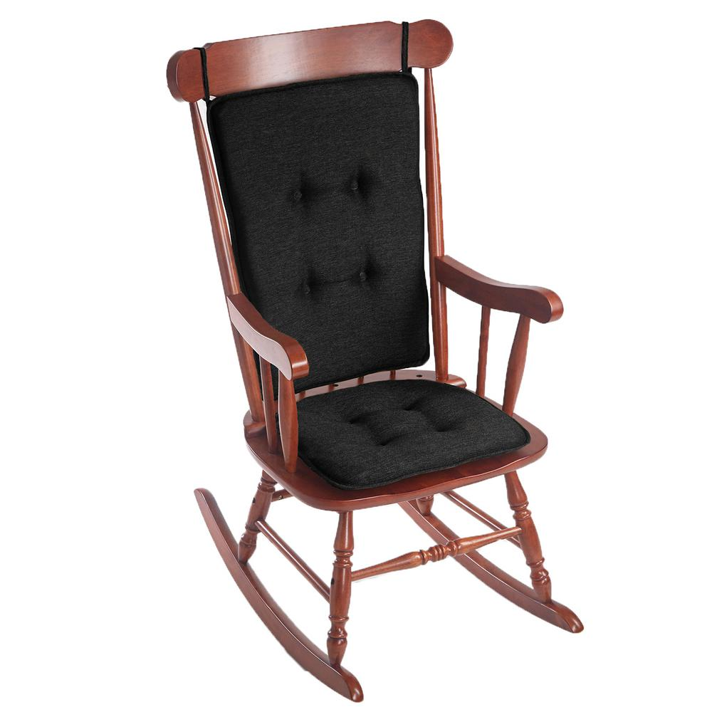 Gripper Embrace Black Tufted Rocking Chair Cushion Set