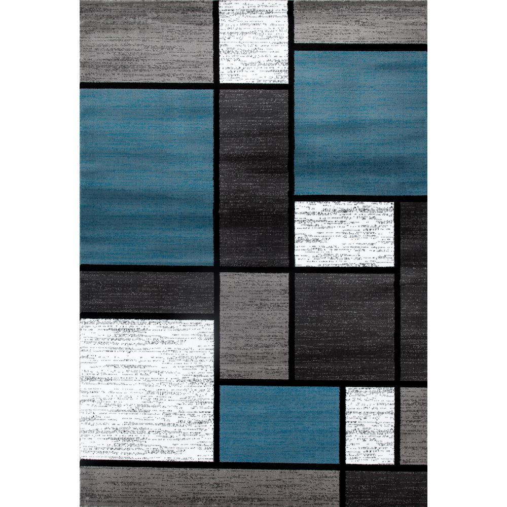 Contemporary Modern Boxes BlueGray 9 ft x 12 ft Area
