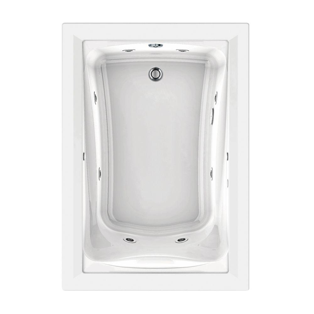 American Standard EverClean 60 in x 32 in Reversible Drain Whirlpool Tub in White2422LC020