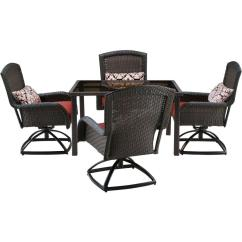 4 Chair Dining Set Lime Green Accent Hanover Strathmere 5 Piece All Weather Wicker Square Patio With Four Swivel