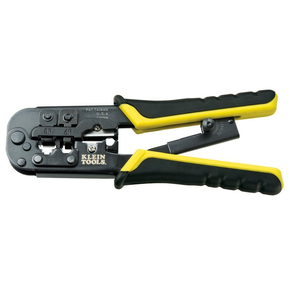 medium resolution of klein tools 7 1 2 in ratcheting modular crimper and stripper