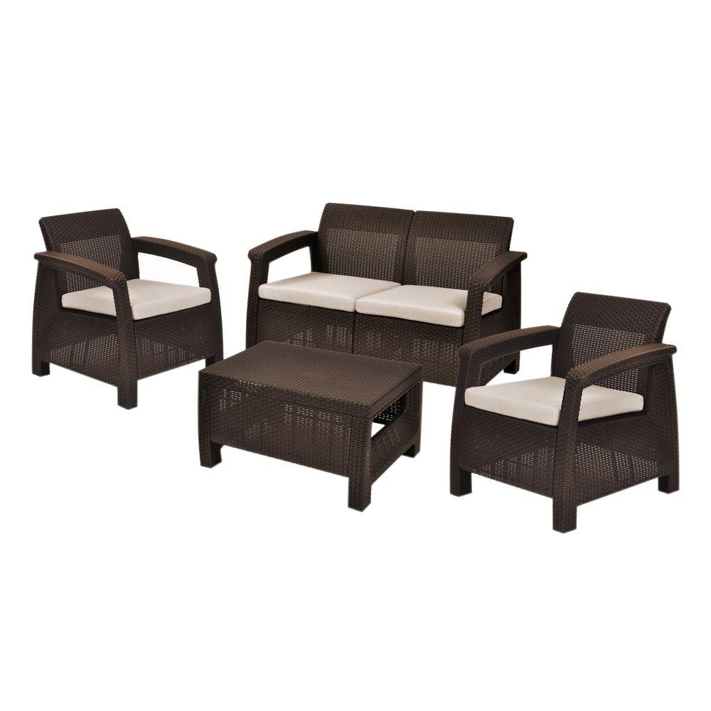 vinyl wicker chairs kids adirondack wood plastic patio furniture outdoors the home depot corfu brown 4 piece all weather resin seating set with mushroom cushions