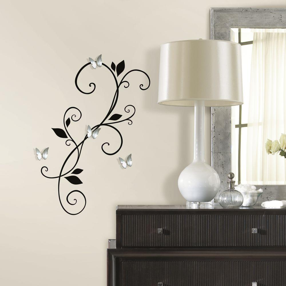 roommates in x in scroll sconce peel and stick wall decal