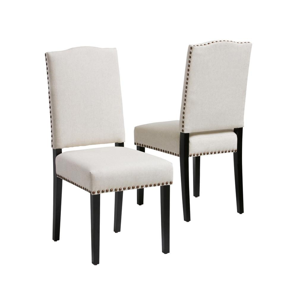 Studded Dining Chairs Noble House Brunello Beige Fabric Studded Dining Chairs Set Of 2