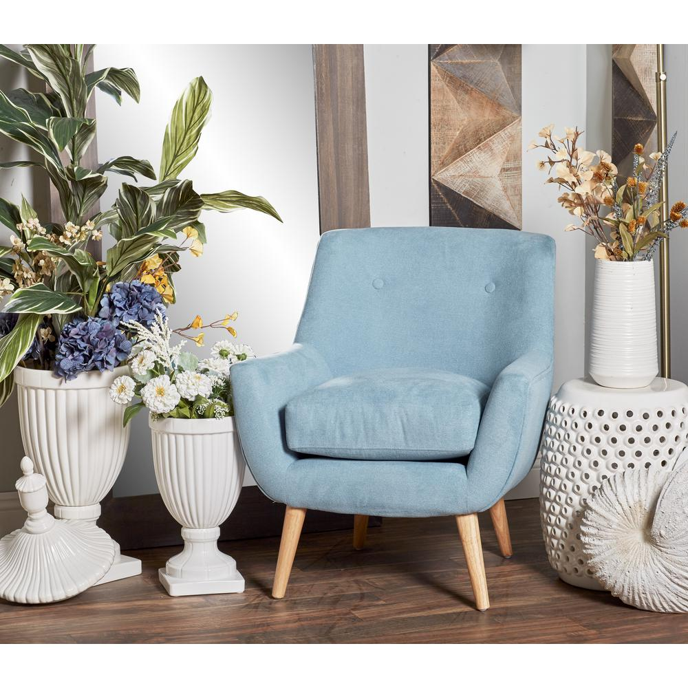 chair with light cover hire kent weddings litton lane blue fabric and wood cushioned arm 38370