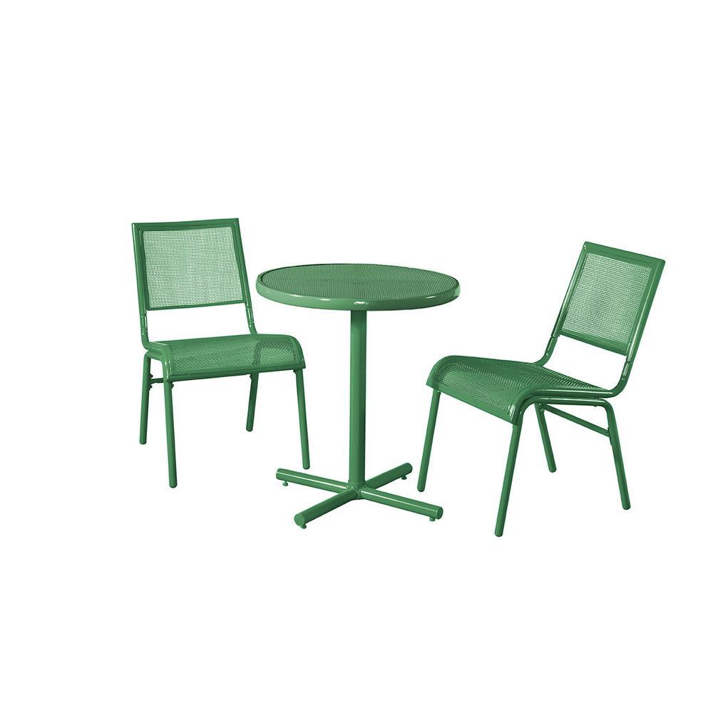 green metal bistro chairs cr plastics adirondack liberty garden 3 piece bixby outdoor set sm k 153