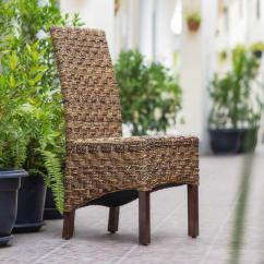 Basket Weave Dining Chairs Personalized Toddler Rocking Chair Manila Abaca And Rattan Wicker With Mahogany Hardwood Frame Set Of 2 Sg 3308 2ch The Home Depot