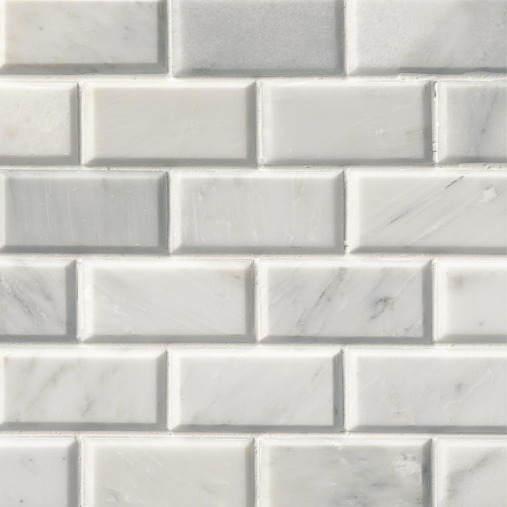 Greecian White Beveled  In X  In X Mm Polished Marble Mesh Mounted Mosaic Tile