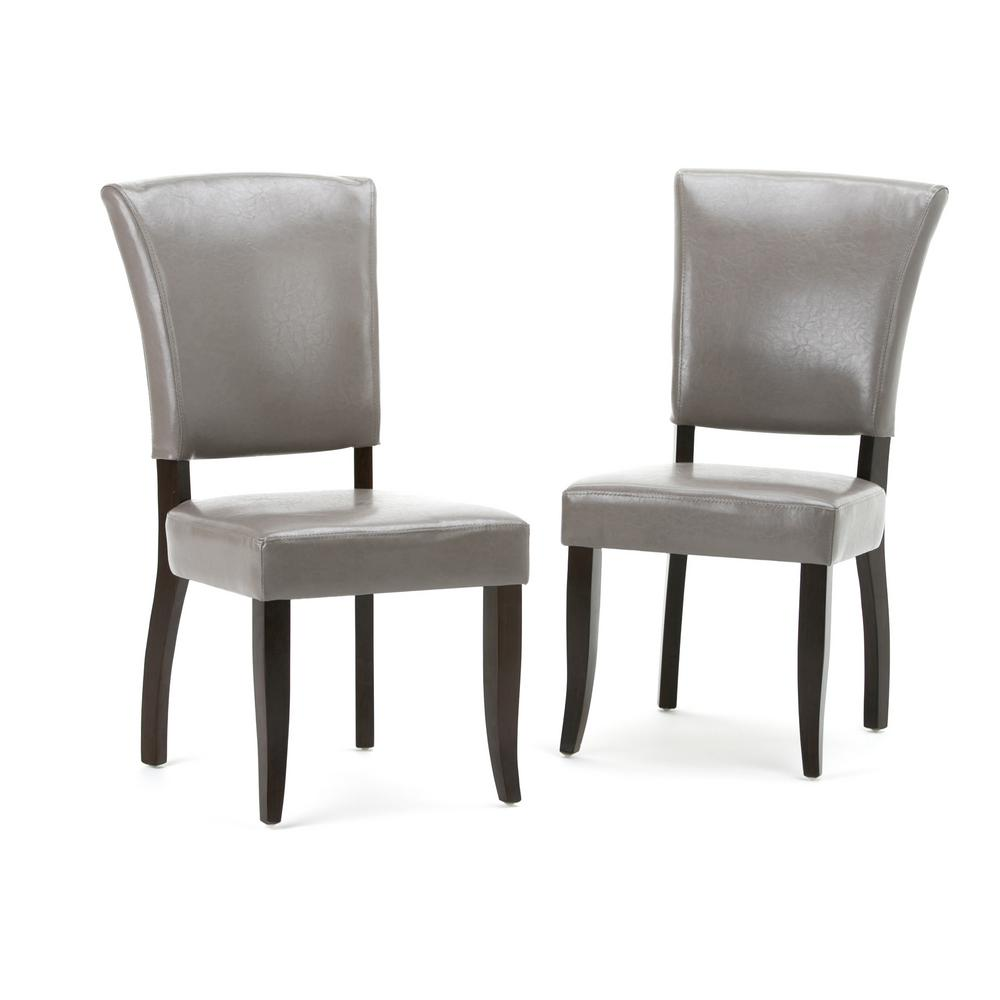 faux leather dining chairs big simpli home joseph taupe pu chair set of 2 axcdchr 001 tp the depot