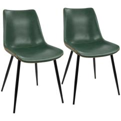 Leather Dining Chairs Desk Chair Adjustable Lumisource Black And Green Durango Vintage Faux Set Of 2