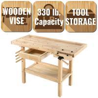 Garage Work Table Solid All Wood Workbench Home Workshop ...