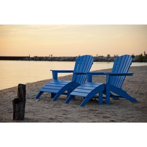 Polywood South Beach Pacific Blue Plastic Patio Adirondack Chair 2-pack -pws137-1-pb - Home