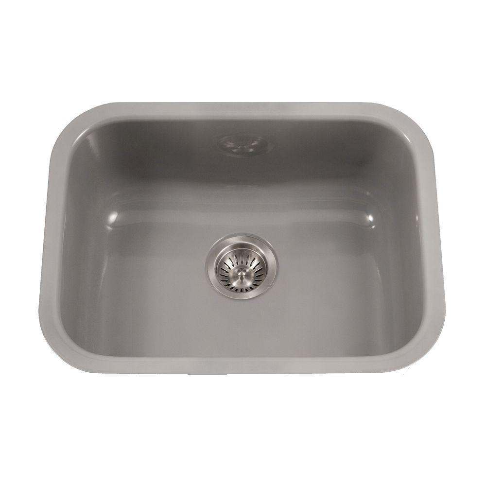 porcelain kitchen sink end cabinet enameled steel sinks the home depot porcela series undermount enamel 23 in single bowl slate