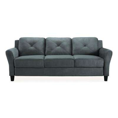 microfiber fabric sofa beds british made standard sofas loveseats living harvard with rolled arms in dark grey