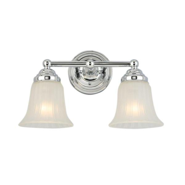 Hampton Bay 2-light Chrome Vanity Light With Frosted Glass